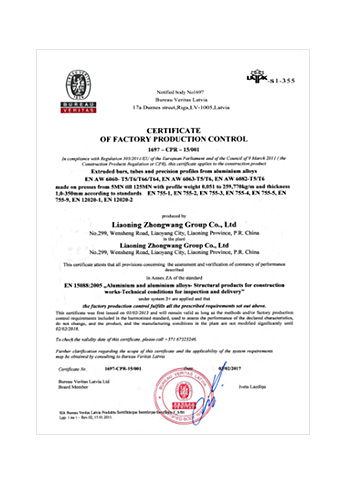 EN 150882005 Certificate of Factory Production Control on Aluminium and Aluminium Alloys, Structural Products for Construction Works, Technical Conditions for Inspection and Delivery
