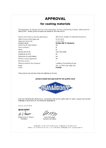 P-0726 (Approval Certificate for Coating Materials by QUALICOAT)