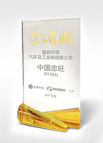 """Most Valuable Listed Company in Automotive and Industrial Manufacturing Sectors"" of the ""Golden Hong Kong Stocks Awards """