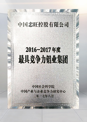 """Most Competitive Aluminium Manufacturer 2016-2017"" awarded by the Chinese Academy of Social Sciences"