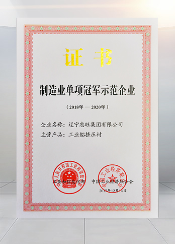 """Sectoral Champion of the Manufacturing Industry"" for industrial aluminium extrusion by the Ministry of Industry and Information Technology."